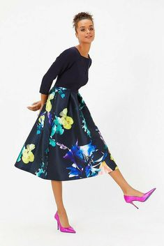 COAST NEW Solid Bodice Black & Multi Floral Print Full Midi Dress. This dress features a square neckline. Blue Midi Dress, Floral Midi Dress, Maxi Dresses Uk, Nice Dresses, Coast Dresses Uk, Corsage, Embellished Bridesmaid Dress, Occasion Dresses Uk, Robes Midi