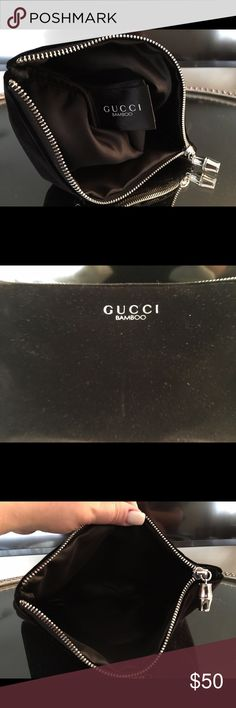 Authentic Gucci Bamboo Pouch Brand new condition. Got it at Neiman Marcus, when I purchased the Gucci Bamboo Perfume. Made of velvet material. Authentic. PRICE IS FIRM Gucci Bags Clutches & Wristlets