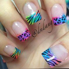 Neon Leopard and Zebra Nails by dndang. Neon Nails, Love Nails, Diy Nails, Fabulous Nails, Gorgeous Nails, Uñas Fashion, Tips & Tricks, Cute Nail Designs, Creative Nails