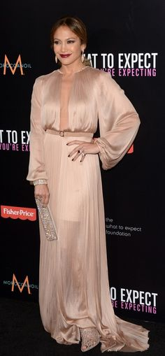 jennifer lopez @ what to expect when you're expecting premiere in a Maria Lucia Hohan gown.