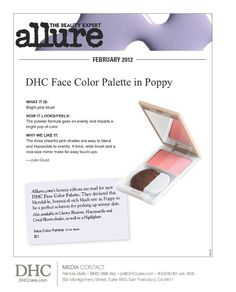 I use this in 'cherry blossom' - DHC Face Color Palette, featured in Allure mag.