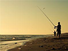Fishing on the coast near Swakopmund, Namibia.