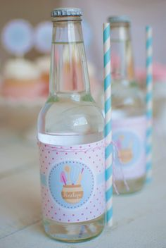 Baking Themed Birthday Party Drink Labels #bakingparty #baking