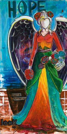 """""""Garden Angel"""" (c) 2009 by T.M. Gand. Collage and acrylic on canvas. Prints & more available at TMGandFineArt.com."""