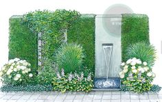 Monochrome border accentuated by a pale fountain.