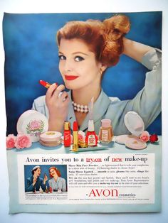 Vintage Avon Ad - Try on new make-up!