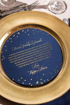 Navy and Gold Wedding Setting and Menu – featured on Every Last Detail