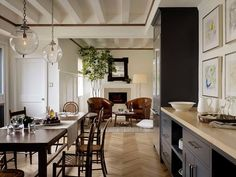 Jute interior Design - kitchens - gray cabinets, gray kitchen cabinets, cream countertops, cream kitchen countertops, rustic dining table re...