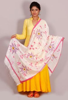 "Buy online Tjori's latest "" The Floral Story"" cotton silk dupatta # Hand painted dupattas # Fabric painting designs # sarees,#dupatta ttps://www.tjori.com/accessories/handpainted-dupattas/asah-floral-hand-painted-dupatta/"
