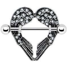 Crystalline Gem Angel Wings Nipple Shield #piercing #bodycandy #nipplering $8.99 www.bionto.com