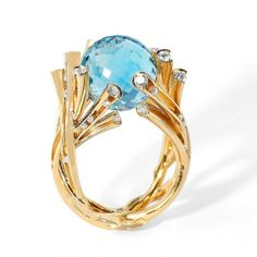 "Ring ""Undina"", in gold with topaz Sky and diamonds by Mousson Atelier"