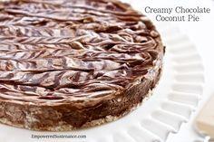Creamy Chocolate Coconut Pie (no bake). No grains, nuts, dairy, eggs or refined sugars... for real!