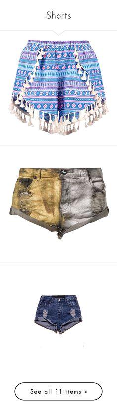 """Shorts"" by alina-chipchikova ❤ liked on Polyvore featuring shorts, bottoms, pants, short, hot pants, short shorts, mini short shorts, culottes shorts, aztec shorts and gold"