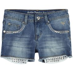 Embellished Pocket-bag Denim Shorts bottoms (315 MXN) ❤ liked on Polyvore featuring shorts and kids clothes