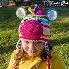 Rainbow Zebra Hat  PDF Crochet Pattern  7 by oneandtwocompany