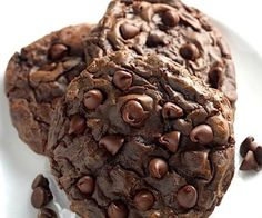 """Soft Batch Double Chocolate Fudge Cookies- These cookies are like pure chocolate fudge! I based the dough of my aunts taties famous """"death by chocolate cookies"""", and after a few twists and tweaks, scored big! Cookie Desserts, Just Desserts, Delicious Desserts, Dessert Recipes, Delicious Cookies, Fudge Recipes, Candy Recipes, Chocolate Fudge Cookies, Chocolate Recipes"""