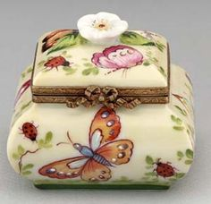 Limoges Inkwell with Butterfly and Ladybugs  box
