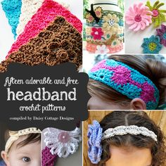 15 Free Headband Crochet Patterns - great for keeping your hair out of your face this summer!