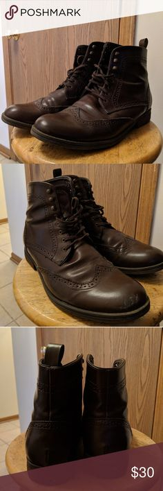 H&M Brogue boots Brown lace up brogue boots from H&M. Some scuffs here and there, but otherwise in good condition. Size 44 (US men's size- 11), but roomy enough to fit up to size 12 feet. H&M Shoes Boots