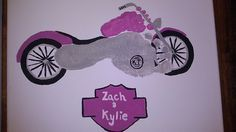 Big Brother, Little Sister footprint art to form Motorcycle! maybe a present for uncle danny in may Baby Crafts, Cute Crafts, Toddler Crafts, Crafts To Do, Crafts For Kids, Infant Crafts, Projects For Kids, Craft Projects, Transportation Crafts