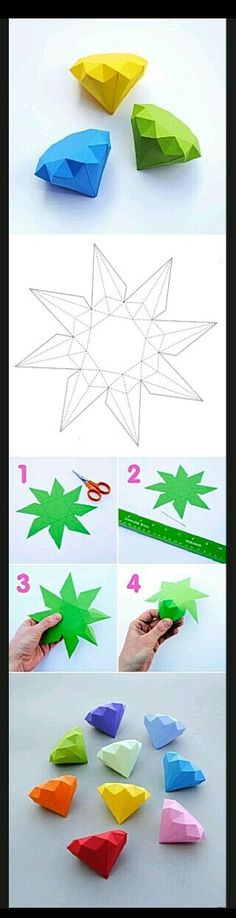 I'll try this with glittering origami - DIY Paper Diamonds Origami Paper, Diy Paper, Paper Art, Paper Crafts, Diy Origami, Origami Tutorial, Origami Mobile, Hanging Origami, Origami Dress