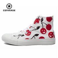 D'origine Converse all star chaussures femmes sneakers peintes à la main graffiti blanc chaussures de toile de femmes élevées chaussures de skate livraison gratuite