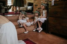 Flower girls wearing simple eucalyptus leaf flower crowns and white lace dresses Flower Crowns, Flower Girls, Warehouse Wedding, Leaf Flowers, Documentary Photography, Lace Dresses, Girls Wear, Celebrity Weddings, White Lace