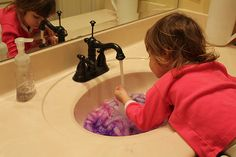 """Play At Home Mom LLC: Bathroom sink turned sensory """"box"""" Ice cubes in colored water. Sensory Games, Sensory Activities Toddlers, Sensory Bins, Little Busters, Shower Time, Water Play, Mom Blogs, Kids Playing, Cool Kids"""