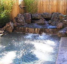 This hot tub was designed to fit into a small backyard. Colored ...
