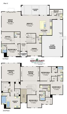 flooring plans New homes in Escondido. Whiitingham in Harmony Grove Village. New homes in San Diego North County. New construction floor plans Floor Plans 2 Story, House Plans One Story, New House Plans, Dream House Plans, Story House, House Floor Plans, Large Floor Plans, Office Layout Plan, Home Office Layouts