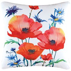 "Poppies 18"" Square Floral Cotton Throw Pillow - Style # 3N454"