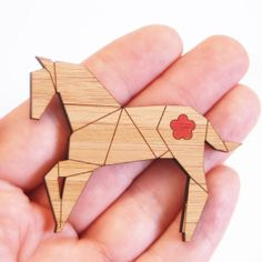 Origami Horse Brooch by KimonoReincarnate