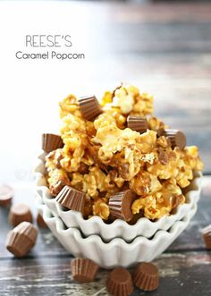 Reese's Caramel Popcorn - Homemade caramel popcorn & Reese's mini cups combined together to make this Reese's Caramel Popcorn is a peanut butter & caramel lovers dream. Delicious! on kleinworthco.com