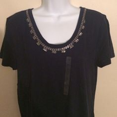 NWT LOFT Navy Sequin Tee Navy crew neck tee with sequin embellishment. NWT. NO trades. LOFT Tops Tees - Short Sleeve