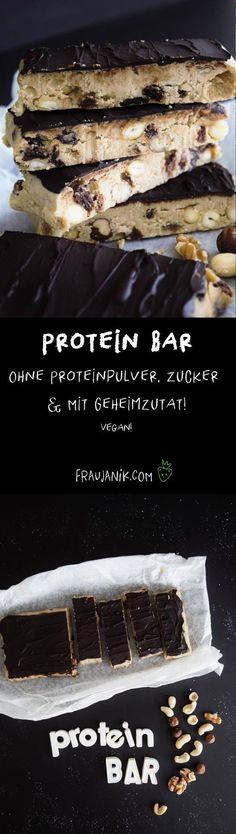 Protein Bar selber machen – ohne Proteinpulver, ohne Zucker, vegan & mit Geheimzutat… Schnelle und einfache Protein Bars aus der Küchenmaschine! Und diese Zutat, die das Protein liefert, ist wirklich ungewöhnlich…