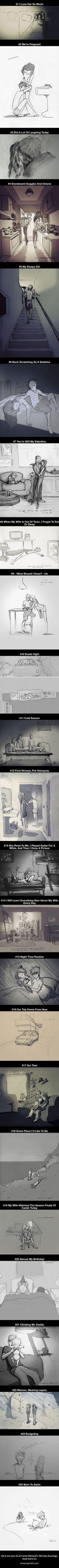 This Guy Illustrated Every Single Day He Spent With His Beloved Wife (24 Pics)…