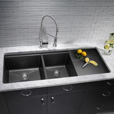 One hole faucets provide a sleek and refined look.