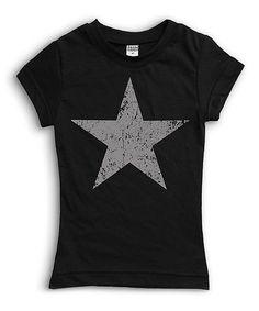 Black Weathered Star Tee - Toddler & Girls