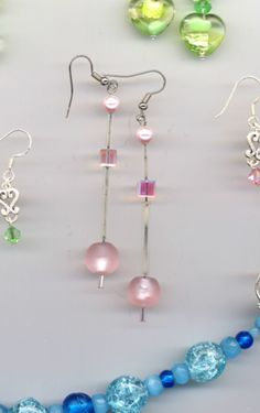 Sleek Moderne in Romantic Pink Artist Glass Crystal Earrings by AGreenWoods on Etsy
