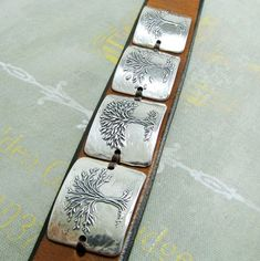 Seasons No. 2 Fine Silver and Leather Cuff Tree Bracelet