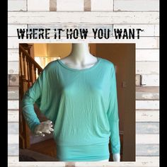 Versatile summer top Versatile summer top, 95% Rayon 5% Spandex make this soft and stretchy. Sleeves are long but easy to roll up or scrunch up. Bunch it at that waist line for a blouse like shown in picture or pull it long with a pair or leggings. Where it how you want! Great color for spring and summer! Tops
