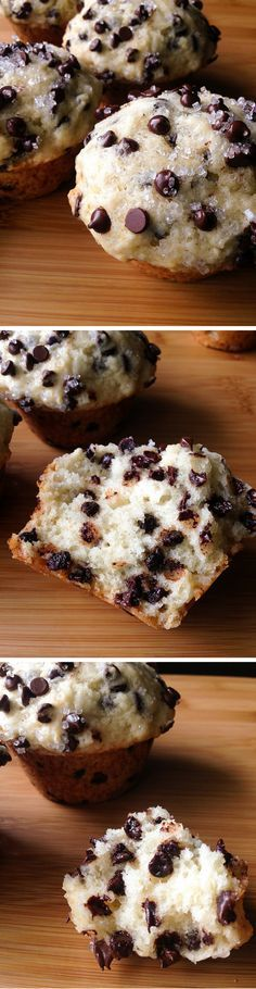 Bakery Style Chocolate Chip Muffins. Big, fluffy, buttery & filled with chocolate chips! www.justsotasty.com