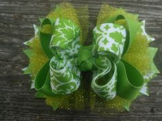 Lime Green Hair Bow Stacked Boutique Girls Hairbow Tulle Hair Bow by JazzyandSassyDesigns on Etsy