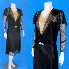 Vintage 1920s Black Lace Cape Collar Dress Lace Tulle Rhinestone Inset  http://stores.ebay.com/mmmosts-Old-time-Stuff-and-Threads