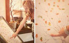 Iedereen maakt met zijn vinger in verf een blaadje aan de boom. Uiteindelijk hou je een mooie kader over.