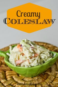 Creamy Coleslaw {Tastes of Lizzy T} One of our favorite picnic foods.  Simple homemade coleslaw dressing that is super creamy! http://www.tastesoflizzyt.com/2013/06/12/creamy-coleslaw/