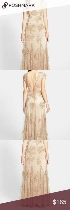 NWT Coutore Gown Sue Wong Beautiful champagne gown with lace, embroidery, beading, gorgeous sheer shoulders and deep plunge back! Absolutely stunning! Perfect condition!!! Was for gala -- gala cancelled Sue Wong Dresses
