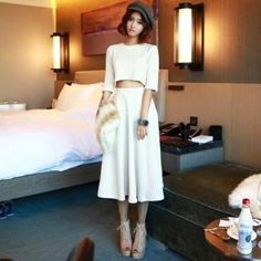 Buy 'chuu – Set: Round-Neck Knit Top   A-Line Long Skirt' with Free International Shipping at YesStyle.com. Browse and shop for thousands of Asian fashion items from South Korea and more!