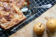 After a trip to the orchards, we made this yummy Asian pear cobbler from our picked fruit. Here's the recipe along with photos from our orchard adventure. Asian Pear Recipes, Pear Dessert Recipes, Delicious Desserts, Snack Recipes, Pear Cobbler, Baked Pears, Sweet Recipes, Sweet Tooth, Paper Plates