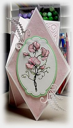 folding cards | Bloomin' Paper: Upright diamond fold card...pretty in pink...almost ...
